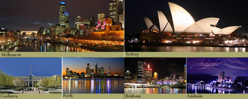 Pictures of Melbourne, Sydney, Canberra, Perth, Brisbane, Adelaide